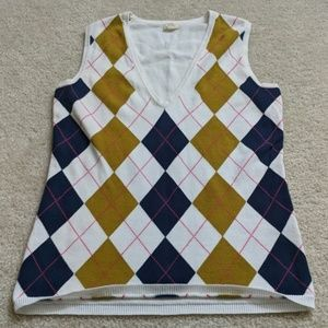 J. CREW Argyle V-Neck Sweater Vest